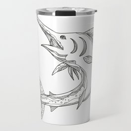Atlantic Blue Marlin Doodle Travel Mug