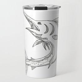 Atlantic Blue Marlin Doodle Travel Mug