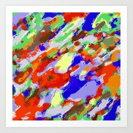 camouflage pattern painting abstract background in red blue green yellow brown purple Art Print