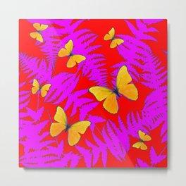 Modern RED Design  Fuchsia Fern Fronds With Yellow Butterflies Metal Print