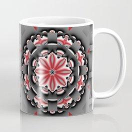 Floral pattern mandala in red, black and grey tones Coffee Mug