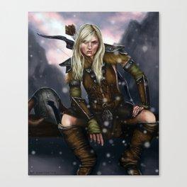 Fantasy Nordic Ranger Woman Canvas Print