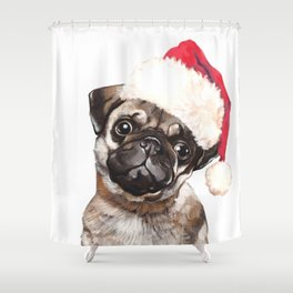 Christmas Pug Shower Curtain