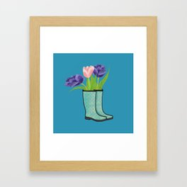 Rain Boots and Purple Tulips With Water Droplet/ Spring Decor Framed Art Print