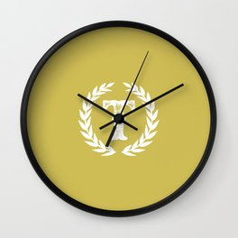 Mustard Yellow Monogram: Letter T Wall Clock