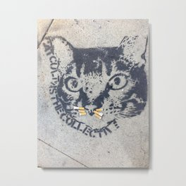 A Cat with cigarette butt whiskers Metal Print