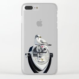 Seagull on Binoculars by the Ocean Illustrated Print Clear iPhone Case