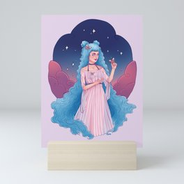 Virgo Zodiac Sign - Blue Mini Art Print
