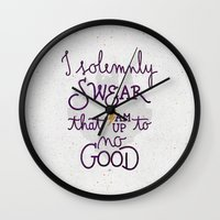 dumbledore Wall Clocks featuring I am up to no good by Earthlightened