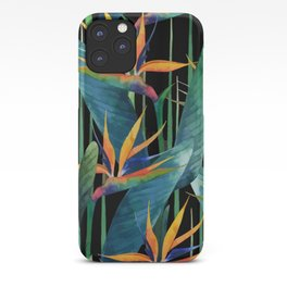 Watercolor Painting Tropical Bird of Paradise Plants large iPhone Case
