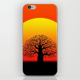 Sunset and tree of life in the savannah iPhone Skin