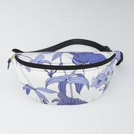 Blue flowers on white background Fanny Pack