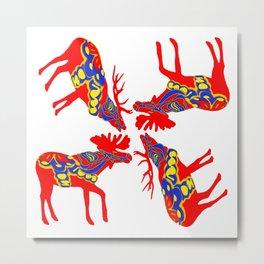 Graphic Elk Moose 01 Swedish Dala Mix Metal Print