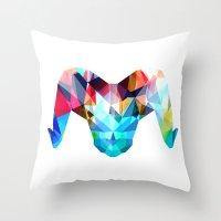 ram Throw Pillows featuring Ram by haroulita