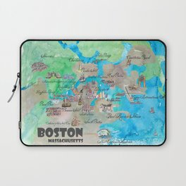 Boston Favorite Map with touristic Top Ten Highlights in colorful retro style Laptop Sleeve