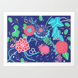 Flowers and Cactus Art Print