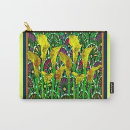 GREEN ART DECO YELLOW CALLA LILIES ART Carry-All Pouch
