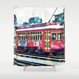 Bokeh Streetcar Shower Curtain