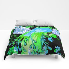 Flower and Peacock Garden Comforters