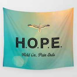 Always Have Hope (Seagull Flying in Teal Sky) Wall Tapestry