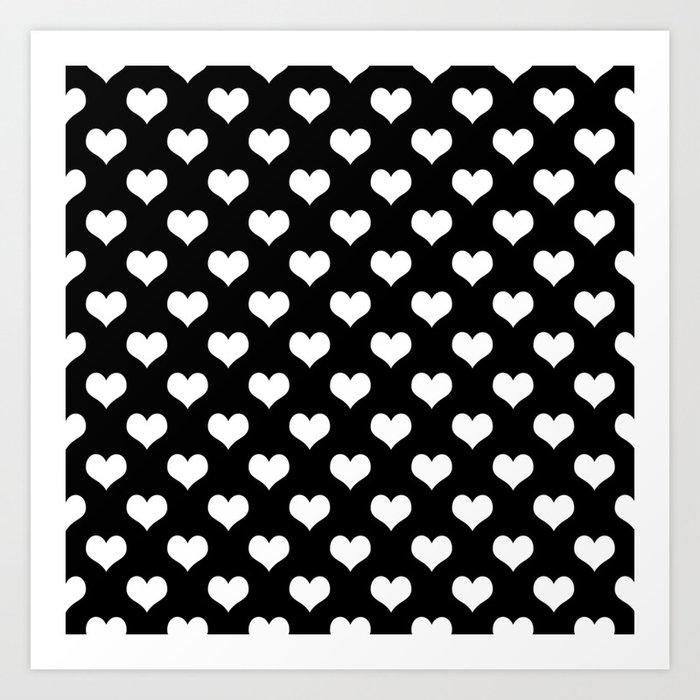 Black White Hearts Art Print