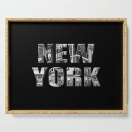 New York (black & white photo type on black) Serving Tray