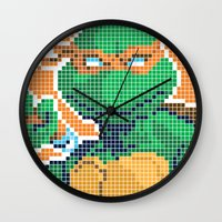 teenage mutant ninja turtles Wall Clocks featuring Teenage Mutant Ninja Turtles - Michelangelo by James Brunner