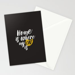 Home is Where My Cat Is (On Black) Stationery Cards