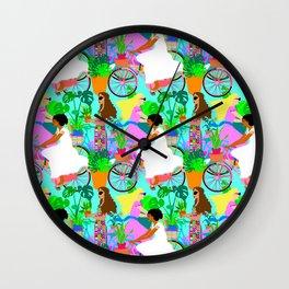 Botanical Boho Bicycle Babes Wall Clock