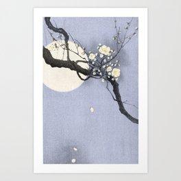 Full Moon and blossom Art Print