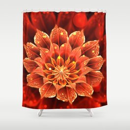 Red Dahlia Fractal Flower with Beautiful Bokeh (Vivid Crimson) Shower Curtain