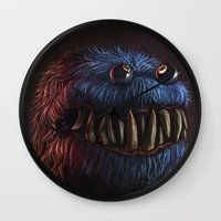 cookie monster Wall Clocks featuring Cookie Monster by Adrián Retana