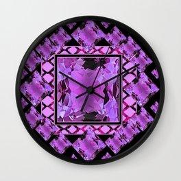 BLACK ART DECO  AMETHYST GEMS   DECORATIVE ART Wall Clock