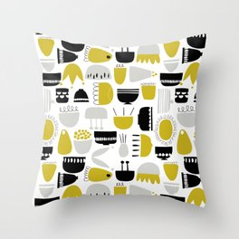 Flowers and Pots Throw Pillow