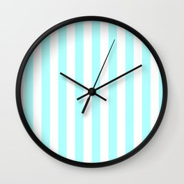 Narrow Vertical Stripes - White and Celeste Cyan Wall Clock