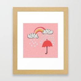 April showers rainbow Clouds Pink #nursery Framed Art Print