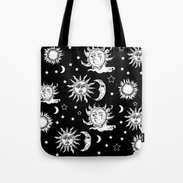 Sun and Moon Celestial Pattern Tote Bag
