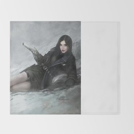 Gunslinger - Badass girl with gun in the snow Throw Blanket