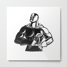Superhero Plumber With Wrench Woodcut Metal Print