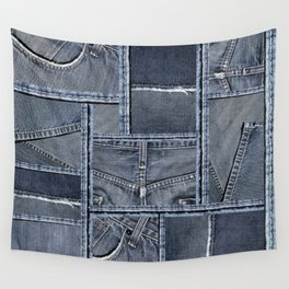 Blue Jeans Denim Patchwork Pattern Wall Tapestry
