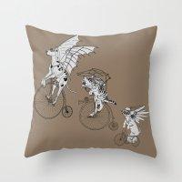 steam punk Throw Pillows featuring Steam Punk Pets by Rebecca Pocai
