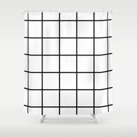 grid Shower Curtains featuring grid by Cream Empire