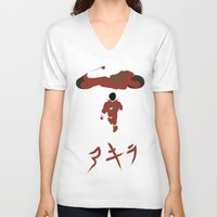 akira V-neck T-shirts featuring Akira by JHTY