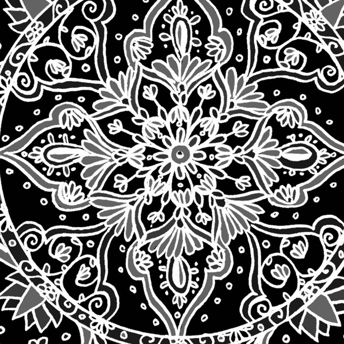 Detailed Black and White Mandala Pattern Leggings