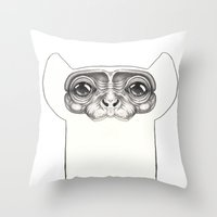 monkey Throw Pillows featuring Monkey by Zina Nedelcheva