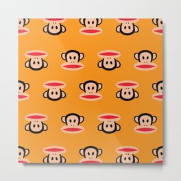 Julius Monkey Pattern by Paul Frank - Orange Metal Print