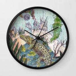 Crocodile in the Tub Wall Clock