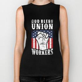 God Bless Union Workers Pro Union Worker Protest Dark Biker Tank