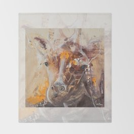 "Giraffe - Animal - ""Presence"" by LiliFlore Throw Blanket"