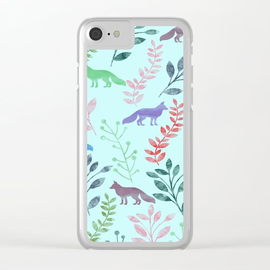 Watercolor Floral & Fox Clear iPhone Case